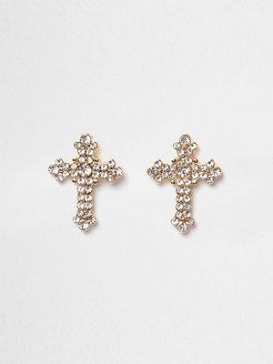 River Island örhängen Gold tone diamante pave cross stud earrings