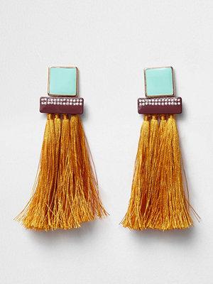 River Island örhängen Orange tassel square dangle earrings