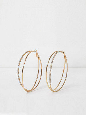 River Island örhängen Gold tone double hoop diamante earrings