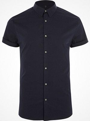 River Island Navy poplin muscle fit short sleeve shirt