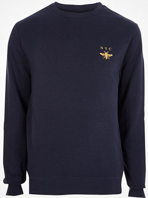 River Island Navy 'NYC' wasp chest embroidered sweatshirt