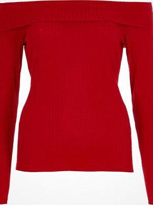 River Island Red brushed rib long sleeve bardot top