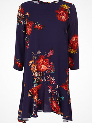 River Island Purple floral print frill hem swing dress