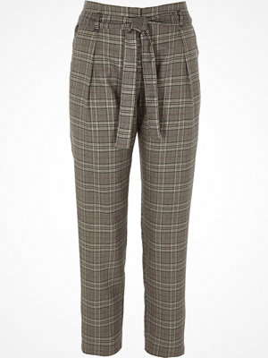 River Island rutiga byxor Grey check glitter tie waist tapered trousers