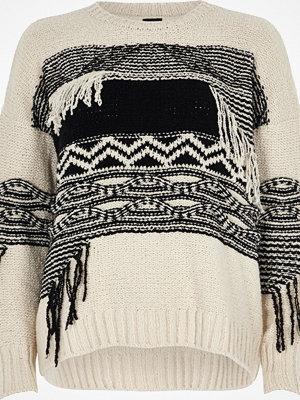 River Island Cream and black print fringe jumper