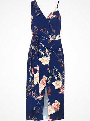 River Island Blue floral print wrap cami strap midi dress