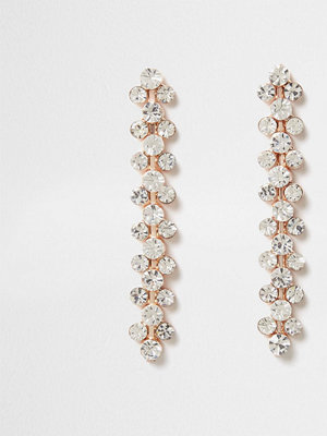 River Island örhängen Rose Gold tone diamante drop earrings
