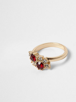 River Island Gold tone ruby gem and diamante ring