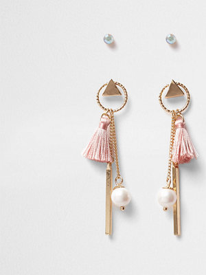 River Island örhängen Gold tone mini hoop tassel stud earrings pack