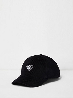 Mössor - River Island Black cord diamond embroidered baseball cap