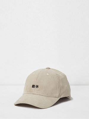 Mössor - River Island Cream cord embroidered baseball cap