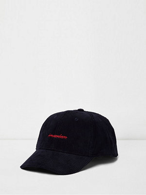 Mössor - River Island Navy 'Amsterdam' embroidered baseball cap