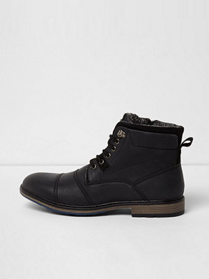 River Island Black faux leather borg lined boots