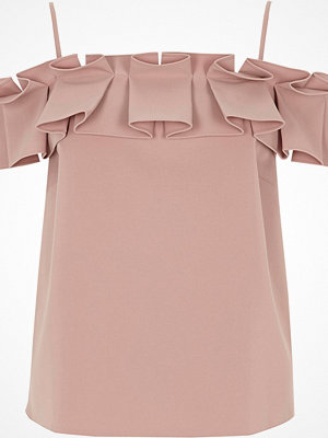 Linnen - River Island Light Pink structured ruffle cami top
