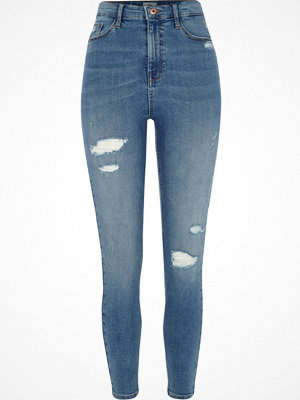River Island Mid Blue rip Harper high waisted skinny jeans