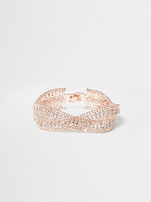 River Island armband Rose Gold tone wavy double band bracelet
