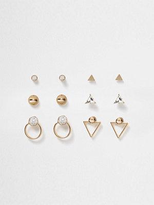 River Island örhängen Gold tone diamante geo earrings pack