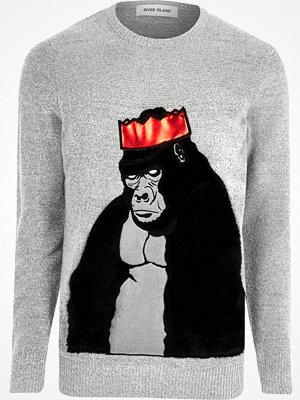River Island Grey Christmas faux fur gorilla jumper