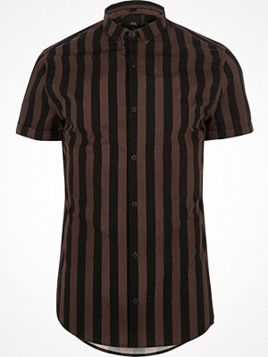 River Island Brown stripe slim fit short sleeve shirt