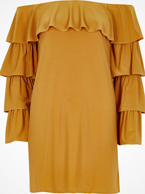 River Island Mustard Yellow bardot tiered sleeve dress