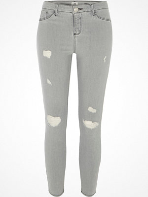 River Island Petite Grey Molly ripped skinny fit jeggings