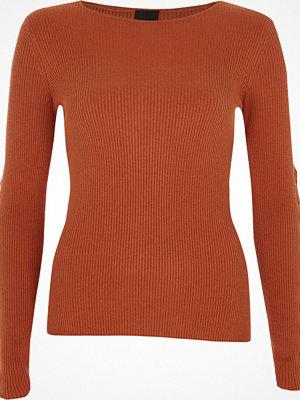 River Island Dark Orange rib knit lace-up sleeve top