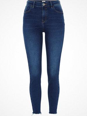 River Island Dark Blue Amelie rip hem super skinny jeans