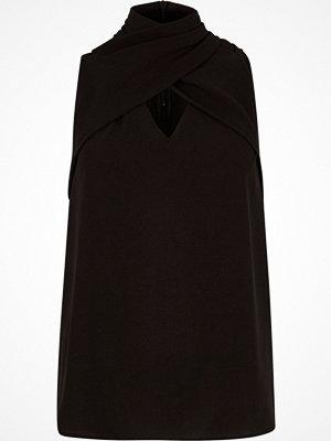 River Island Black wrap neck sleeveless top