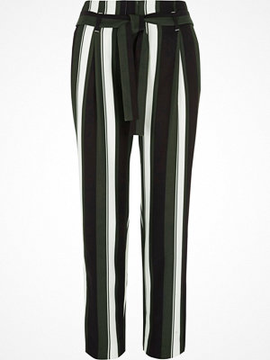 River Island randiga byxor Black stripe tie waist tapered trousers