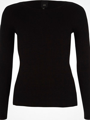 River Island Black rib lace-up sleeve knitted top