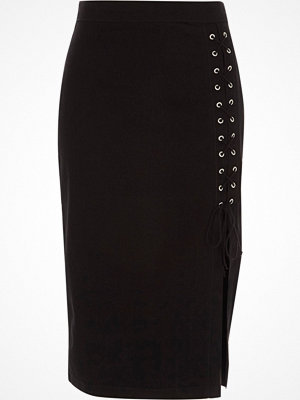 River Island Black lace-up split denim pencil skirt
