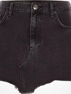 River Island Black frayed hem denim mini skirt