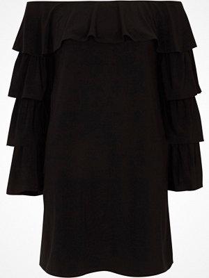 River Island Black bardot frill tiered sleeve mini dress