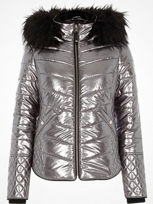 River Island Silver metallic faux fur trim padded jacket