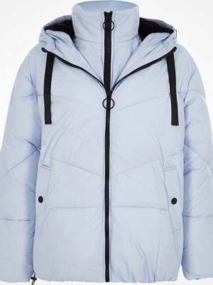 River Island Light Blue double layer hooded puffer jacket