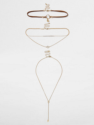 River Island halsband Brown circle drop pendant layer choker set
