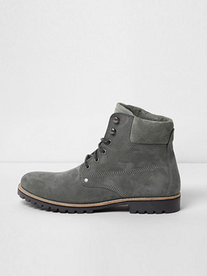 Boots & kängor - River Island Grey leather lace-up worker boots