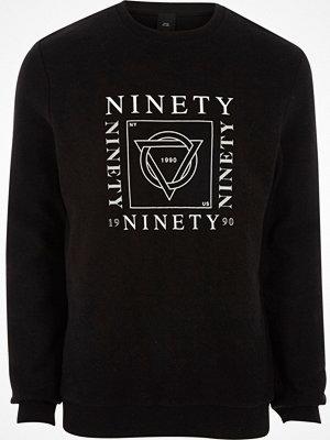 River Island Black 'ninety' print soft felt sweatshirt