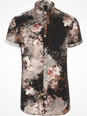 River Island Black floral print slim fit shirt