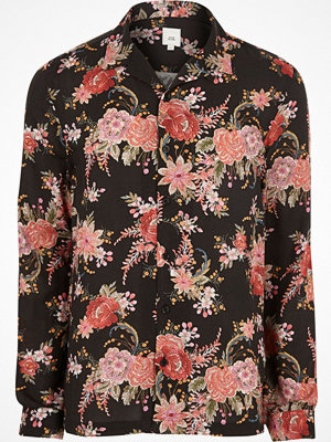 River Island Black floral revere long sleeve shirt