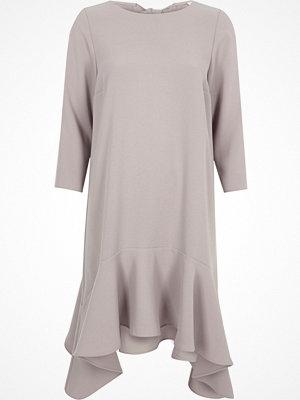 River Island Light Grey frill hem tie back swing dress