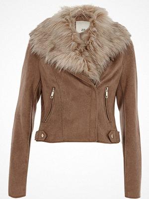 River Island Brown faux fur trim faux suede biker jacket
