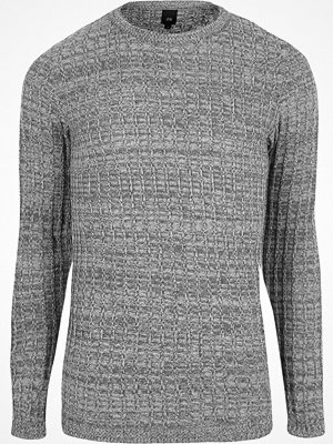 River Island Grey marl long sleeve muscle fit jumper