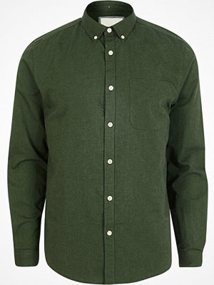 River Island Green long sleeve button-down oxford shirt