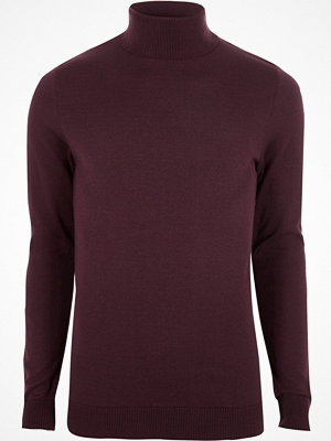 River Island Dark Red slim fit roll neck jumper