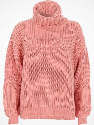 River Island Pink chunky rib knit roll neck jumper