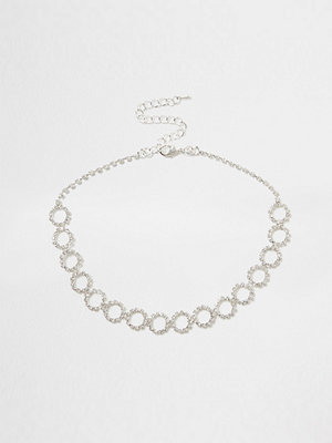 River Island halsband Silver diamante encrusted circle chain choker