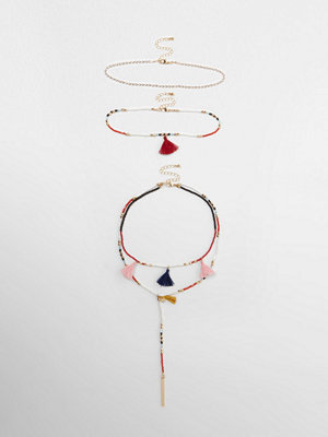 River Island halsband Red multicolouRed beaded tassel necklace set