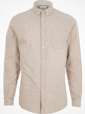 River Island Stone button-down Oxford shirt