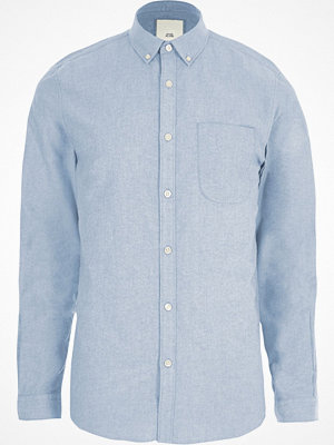 Skjortor - River Island Light Blue long sleeve Oxford shirt